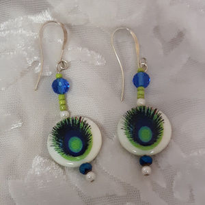 Jewelry - Vintage Peacock Inspired Pierced Earrings